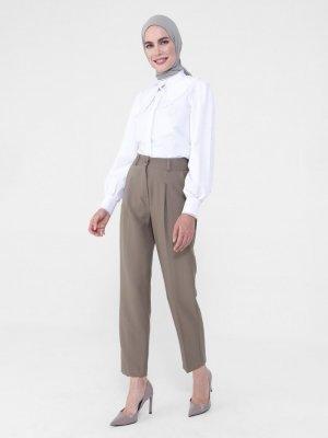 Refka Koyu Vizon Pile Detaylı Klasik Pantolon