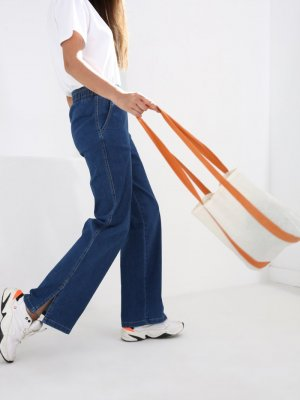 Allday Mavi Beli Lastikli Paçası Yırtmaçlı Kot Pantolon