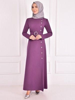 AYŞE MELEK TASARIM Lila Taş Detaylı Abiye Elbise