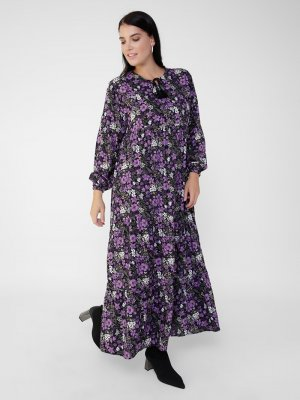 Alia Lila Büyük Beden Doğal Kumaşlı Çiçek Desenli Elbise