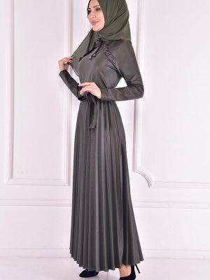 Moda Merve Haki Deri Elbise