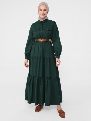 Refka Zümrüt Yeşili Kemerli Cep Detaylı Elbise