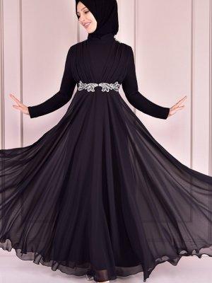 Moda Merve Siyah Taşlı Payet Abiye Elbise