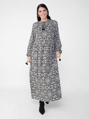 Alia Siyah Büyük Beden Doğal Kumaşlı Desenli Elbise