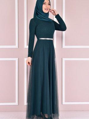 Moda Merve Zümrüt Yeşili Simli Abiye Elbise