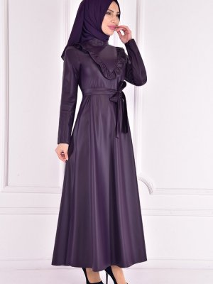 Moda Merve Mor Deri Elbise
