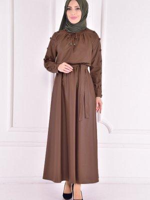 Moda Merve Taba Deri Elbise
