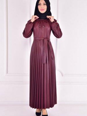 Moda Merve Bordo Deri Elbise