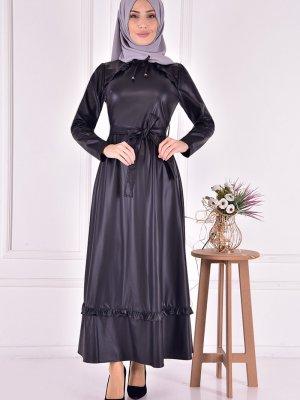Moda Merve Siyah Deri Elbise