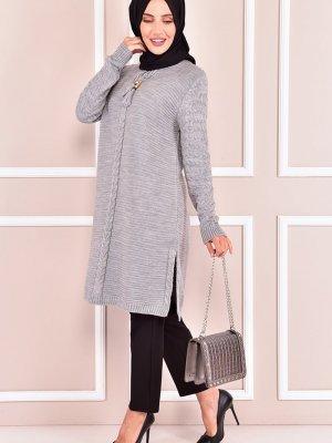 Moda Merve Gri Triko Tunik