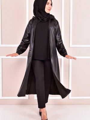 Moda Merve Siyah Deri Kap