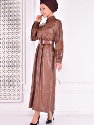 Moda Merve Kahverengi Deri Elbise