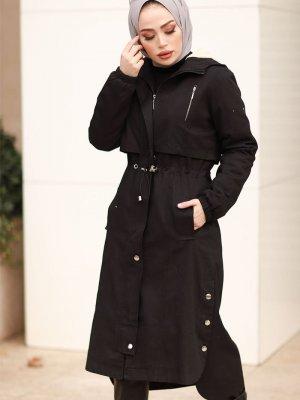 In Style Siyah Gabardin Kumaşlı Beli Büzgülü Kaban