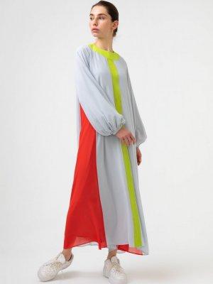 Touche Prive Bordo 3 Renkli Şifon Elbise