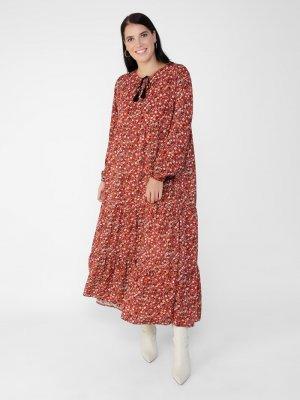 Alia Kiremit Büyük Beden Doğal Kumaşlı Çiçek Desenli Elbise