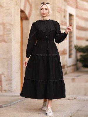 In Style Siyah Güpür Detay Balon Kol Elbise