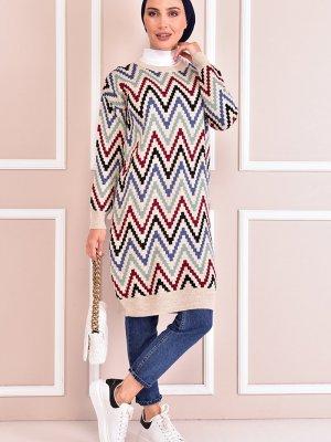 Moda Merve Bej Triko Tunik