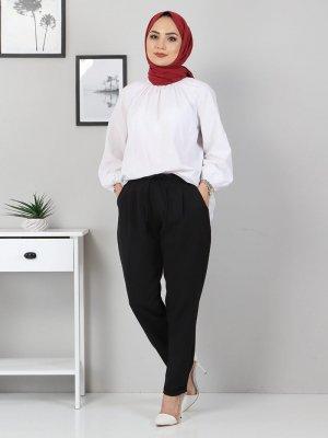 MISSVALLE Siyah Lastik Detay Pantolon