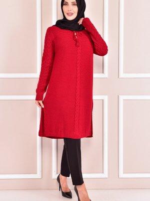 Moda Merve Kırmızı Triko Tunik