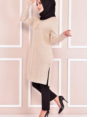 Moda Merve Krem Triko Tunik