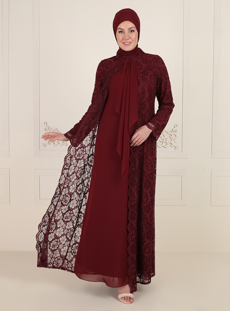 Sevdem Abiye Bordo Dantelli Abiye Elbise