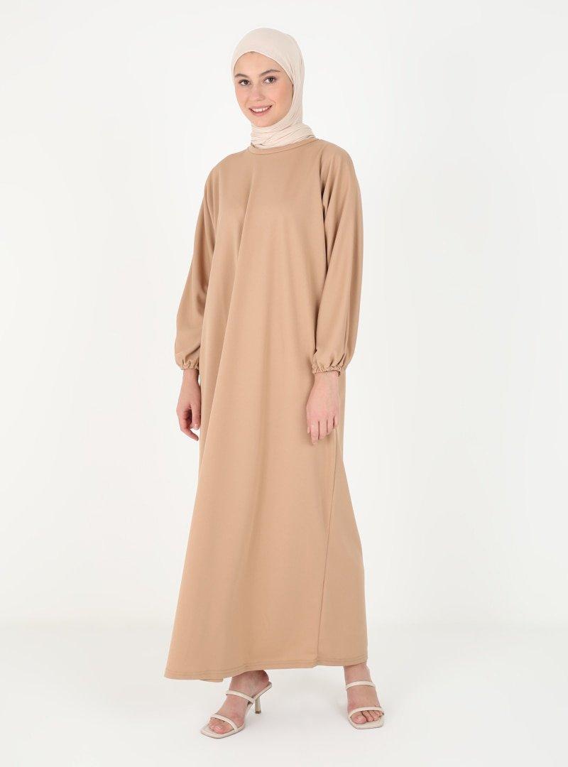 SULTANE Bisküvi Kol Uçları Lastikli Elbise Ferace