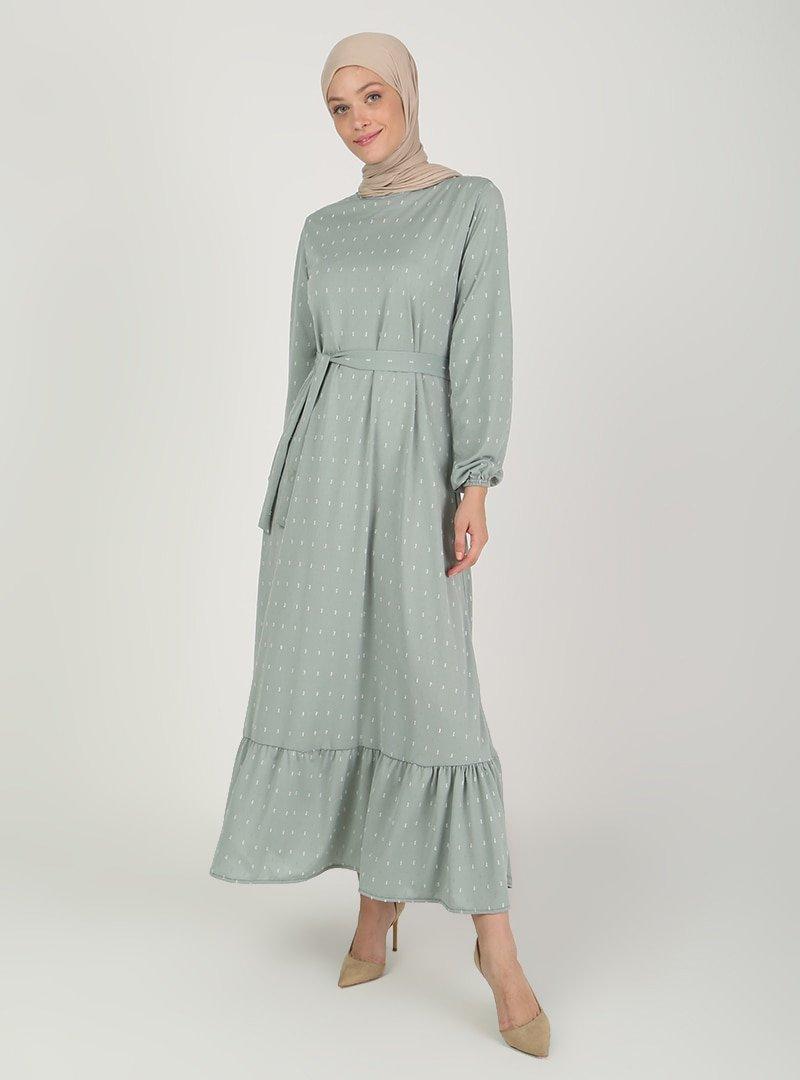 ECESUN Çağla Kol Uçları Lastikli Elbise