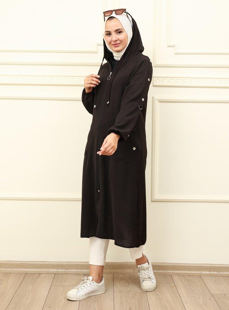 Moda Dua Siyah Kapüşonlu Kap