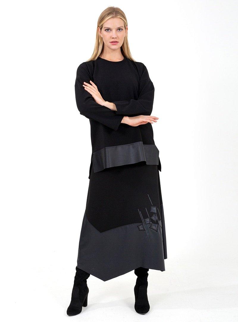 ONX10 Siyah Nakış Detaylı Deri Garnili Tunik & Etek İkili Takım
