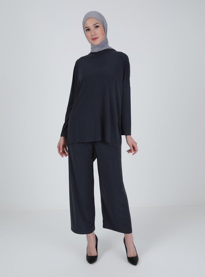 İLMEK TRİKO Antrasit Tunik & Pantolon İkili Takım