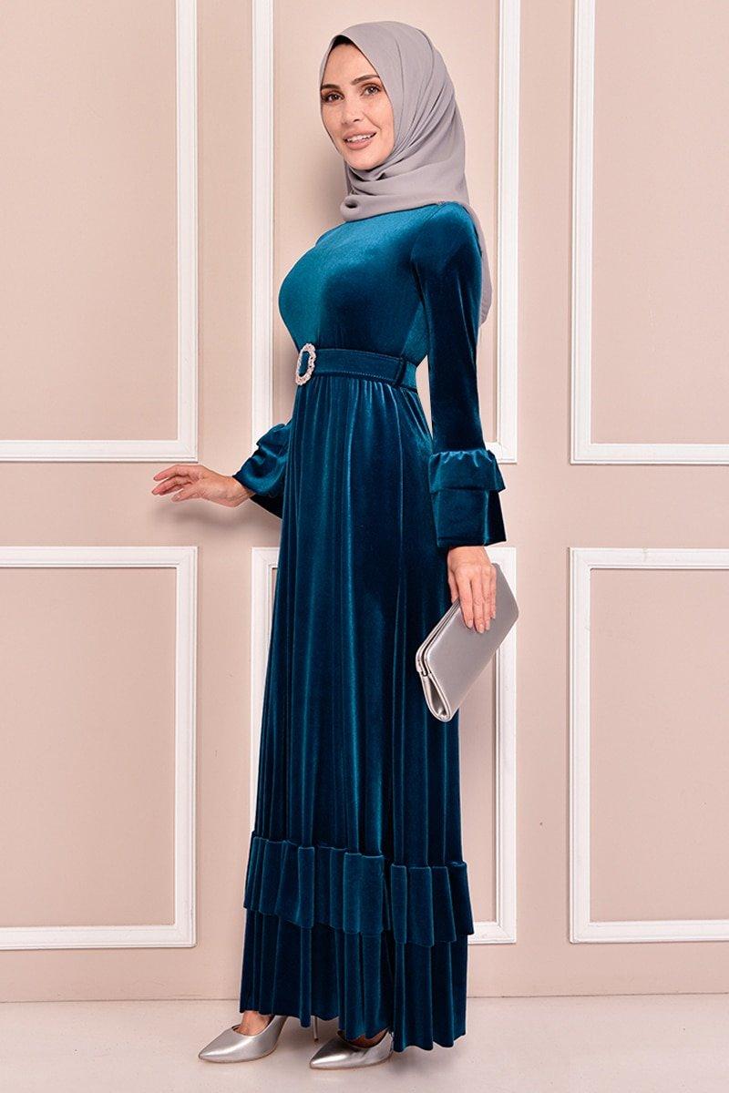 Moda Merve Petrol Kemerli Kadife Elbise
