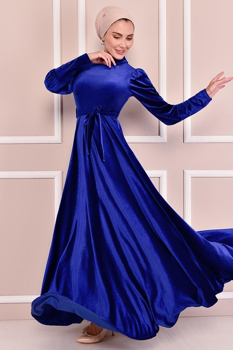Moda Merve Saks Kuşaklı Kadife Elbise