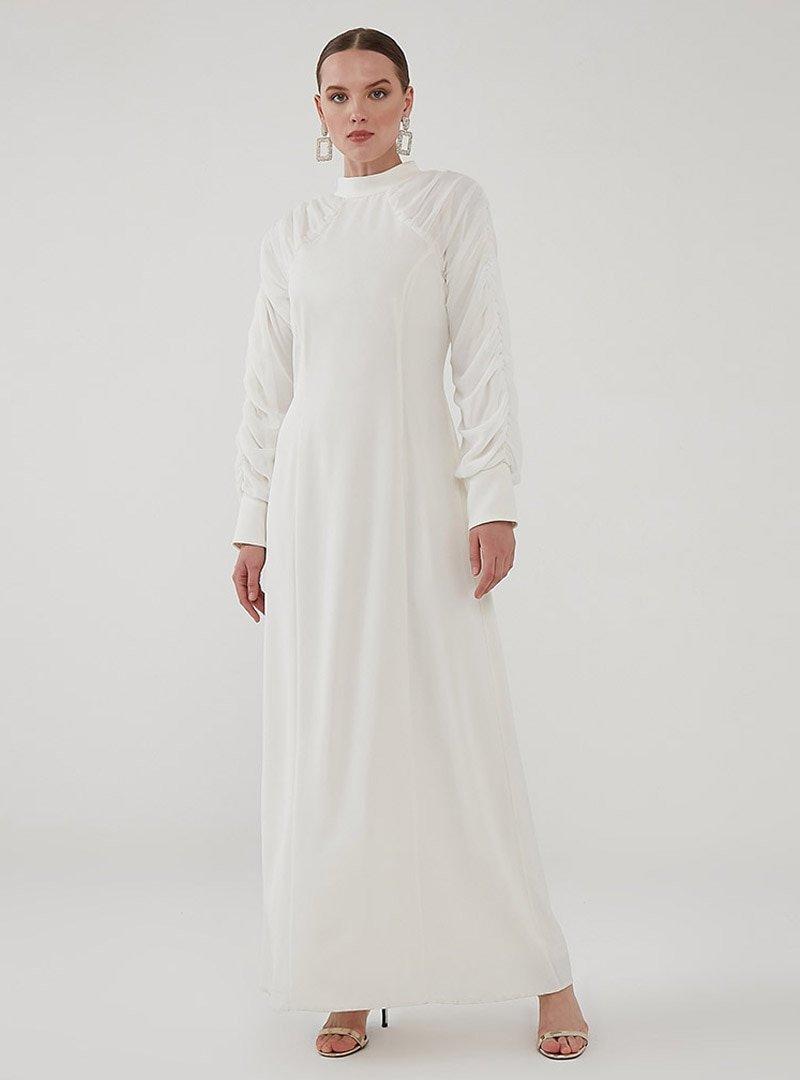 Birgül Bektaş Beyaz Milan Abiye Elbise