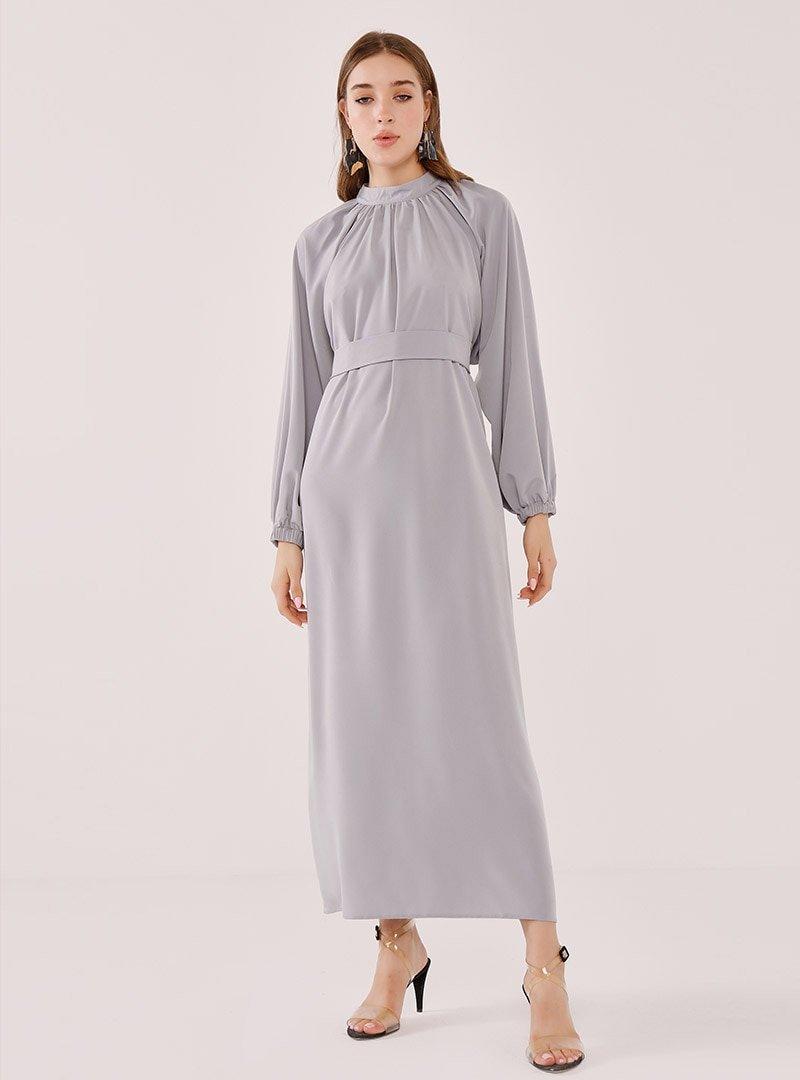 Birgül Bektaş Gri Rosa Abiye Elbise