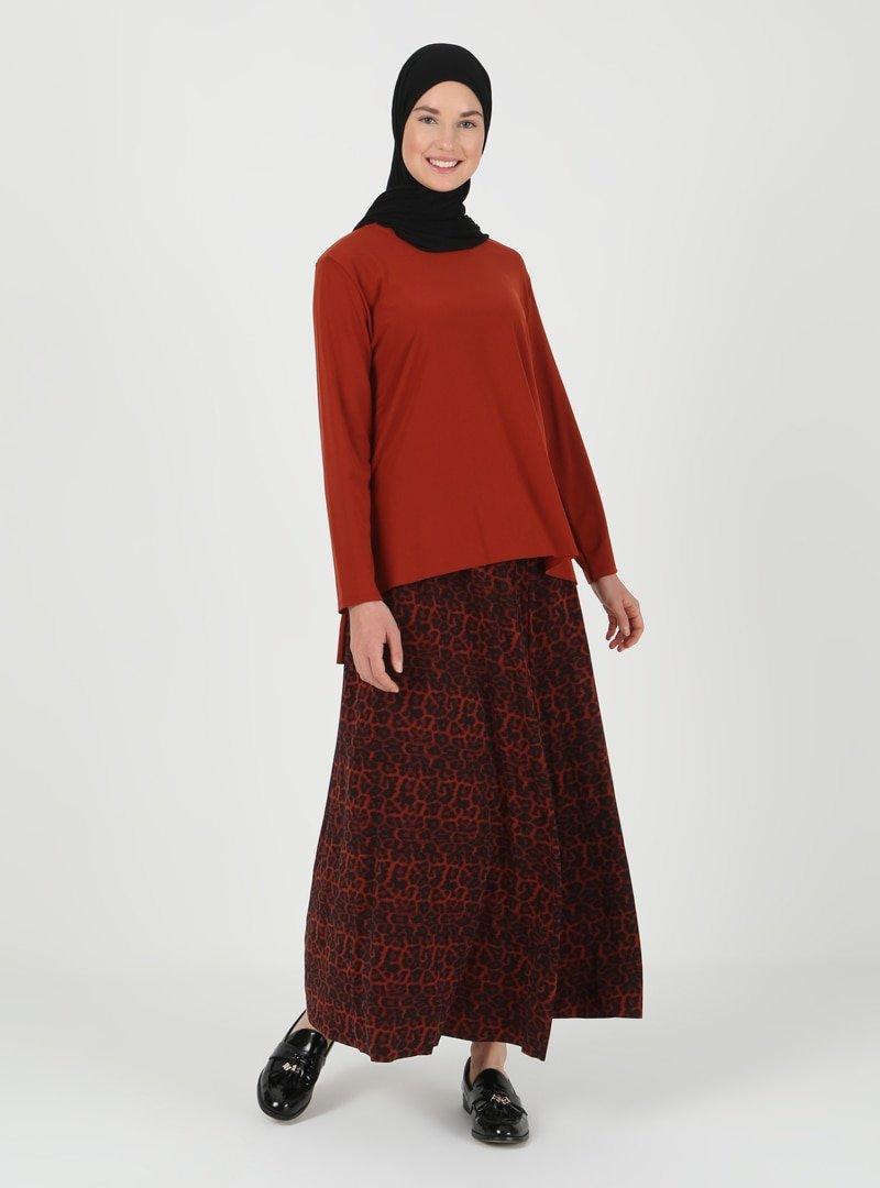İLMEK TRİKO Kiremit Tunik & Etek İkili Takım