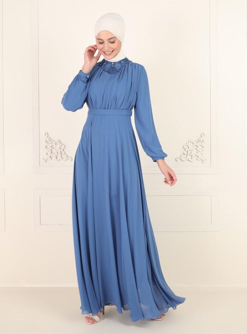 Amine Hüma İndigo Yakası Taş Detaylı Abiye Elbise