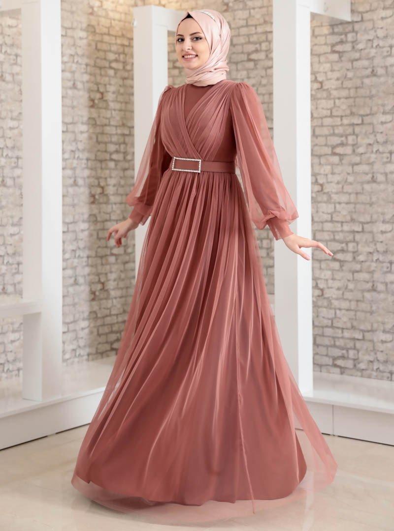 Fashion Showcase Design Soğan Kabuğu Taş Detaylı Tüllü Abiye Elbise