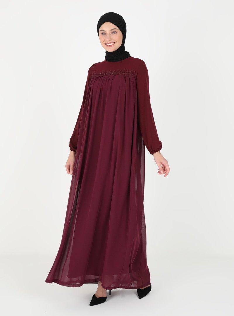 Ginezza Bordo Drop Baskılı Elbise