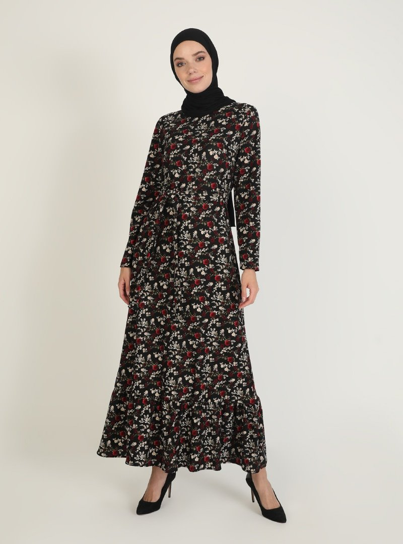 ECESUN Siyah Kırmızı Desenli Elbise