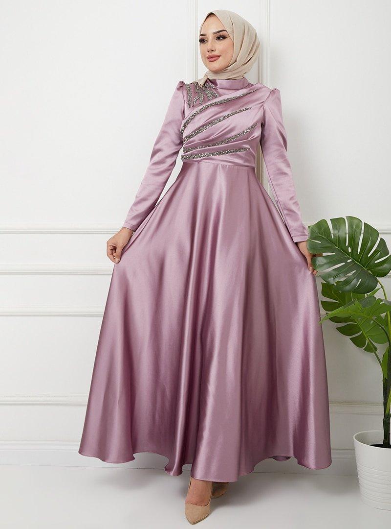 Olcay Koyu Lila Önü Volan Ve Taş Detaylı Saten Abiye Elbise