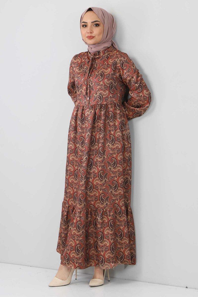 Tesettür Dünyası Kahverengi Şal Desenli Elbise