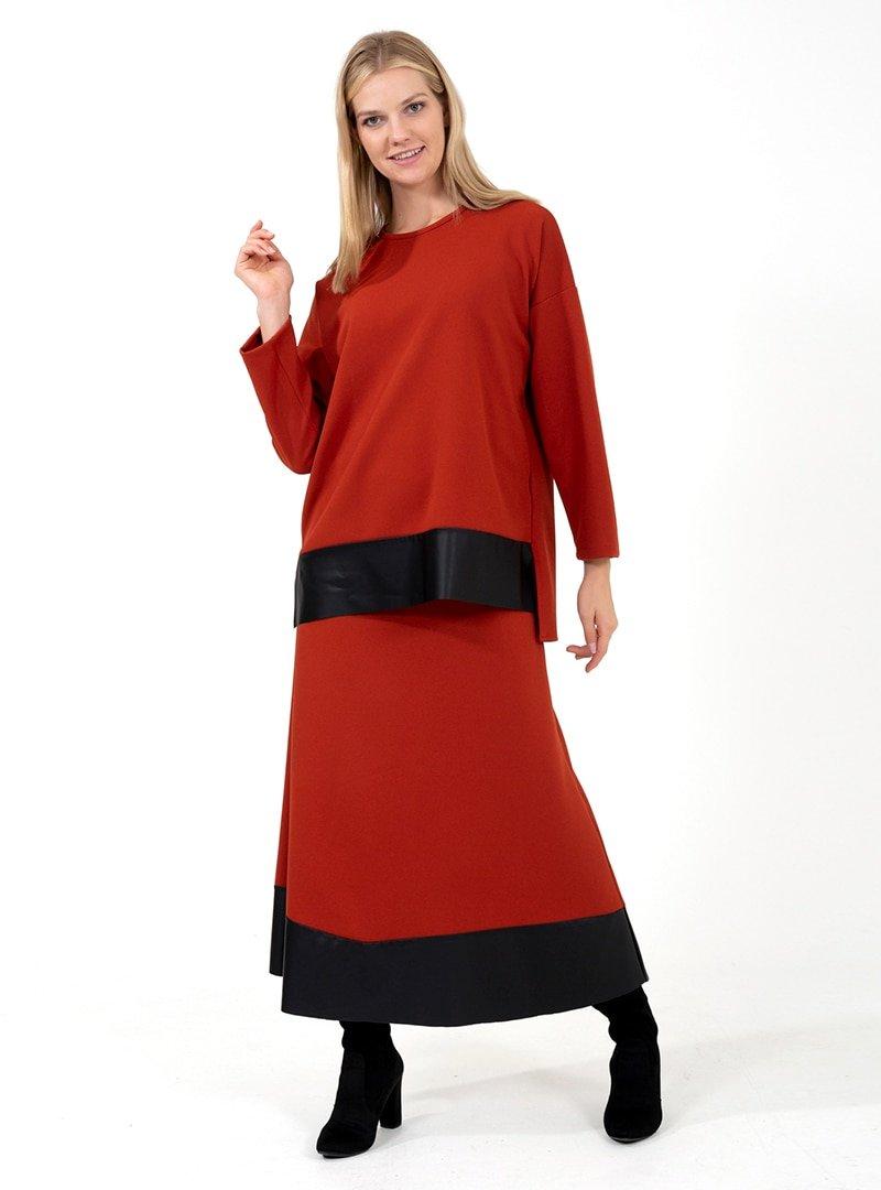 ONX10 Kiremit Deri Garnili Tunik & Etek İkili Takım