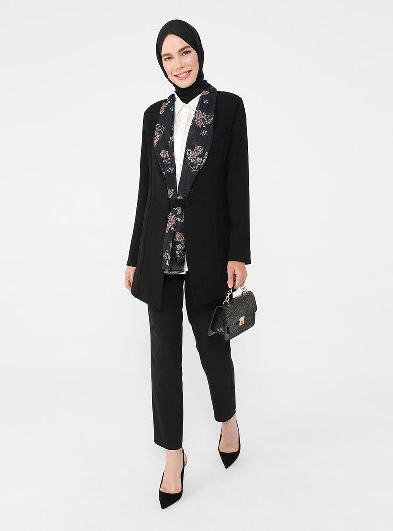 Refka Siyah Şifon Şal Yaka Detaylı Ceket