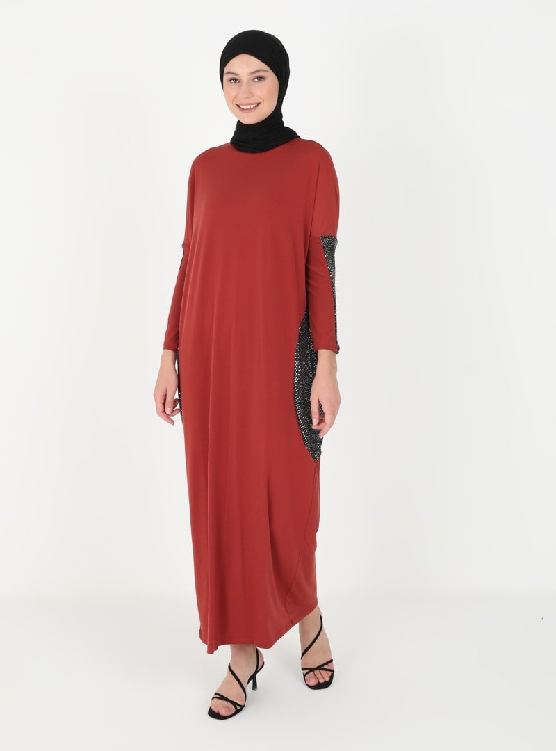 MODAGÜL Kiremit Payet Detaylı Elbise