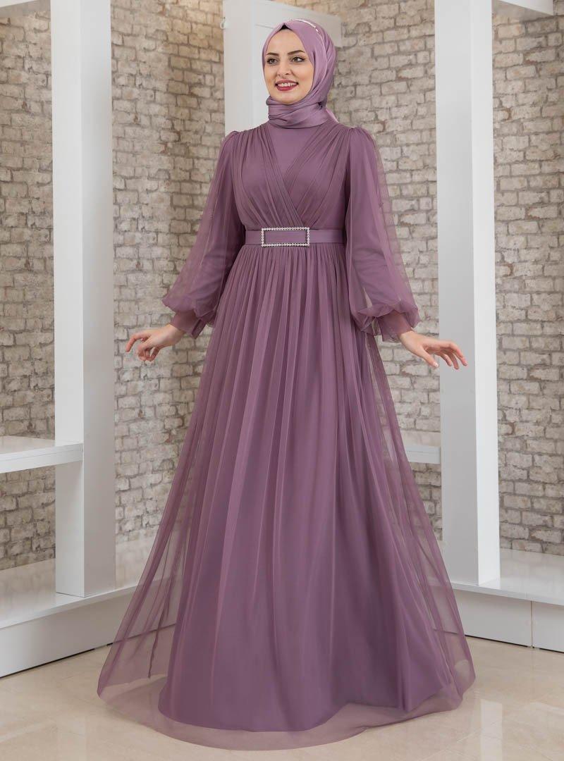 Fashion Showcase Design Lila Taş Detaylı Tüllü Abiye Elbise