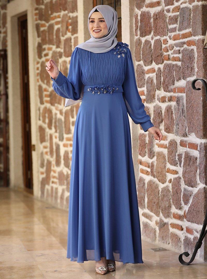 Amine Hüma İndigo Defne Abiye Elbise