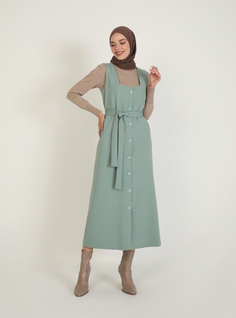 İnşirah Mint Yeşili Kuşak Detaylı Kolsuz Elbise