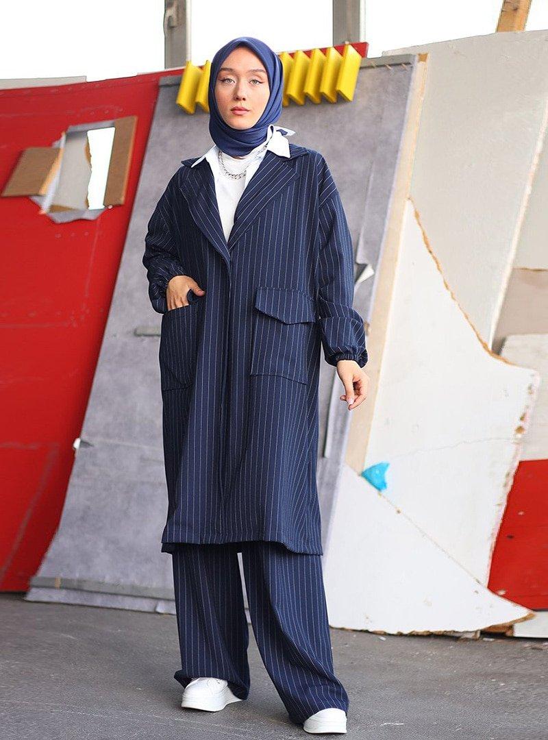 Ceylan Otantik Lacivert Çizgili Ceket & Pantolon İkili Takım
