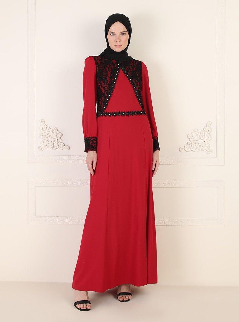 ENSANUR MODA Kırmızı Dantel Detaylı Abiye Elbise
