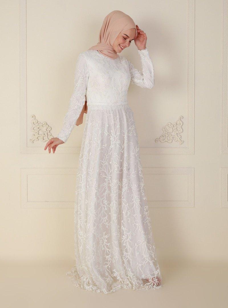 Mileny Beyaz Simli Uzun Kol Abiye Elbise